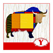Yak Painting Posters - Y is for Yak Poster by Elaine Plesser