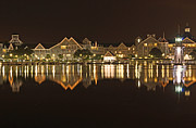 Night Pyrography Prints - Yacht Club Villas - Walt Disney World Print by AK Photography