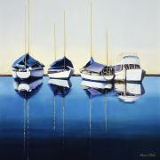 Water Sports Art Paintings - Yacht Harbor by Han Choi - Printscapes
