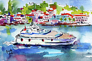 Yacht Paintings - Yachting off the coast of Amalfi Italy Watercolor by Ginette Fine Art LLC Ginette Callaway