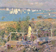 Boats On Water Prints - Yachts in Gloucester Harbor Print by Childe Hassam