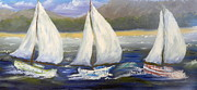 Mountains Painting Originals - Yachts Sailing off the Coast by Pamela  Meredith