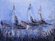 Waterscape Painting Metal Prints - Yachts Metal Print by Zaira Dzhaubaeva