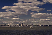 Tall Ships Prints - Yahcht on the Hudson Print by Alex AG