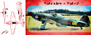 Fighter Prints - Yakovlev - Yak 9 Print by Arne Hansen