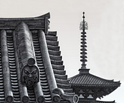 Shogun Photo Prints - Yakushi-ji Temple Roof Study Print by Daniel Hagerman