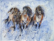 Snow Storm Paintings - Yakutian Horses in the Snow Storm by Zaira Dzhaubaeva