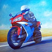 Motorcycle Painting Posters - Yamaha R1 Poster by Brian  Commerford
