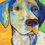 Blue  Yellow Paintings - Yancy by Pat Saunders-White            
