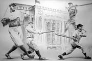  Baseball Art Drawings Framed Prints - Yankee Greats Framed Print by Adam Barone