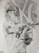 Derek Jeter Drawings Metal Prints - Yankee Pride Derek Jeter  Metal Print by Keith Evans