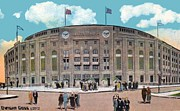 Baseball Stadiums Painting Framed Prints - Yankee Stadium C.1930 Framed Print by Dwight Goss