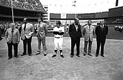 Famous Baseball Pictures Art - Yankee Stadium-Opening Day Past Heros by Ross Lewis