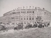 Yankee Stadium Drawings - Yankee Stadium Original Sketch by Pigatopia by Shannon Ivins