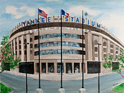 Baseball Painting Posters - Yankee Stadium Poster by Paul Cubeta