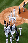 Yankees Prints - Yankee Teamates Greet Jeter after 3000th Hit Print by Mike Rachel