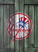 Sport Illustrations Mixed Media Framed Prints - YANKEES at the GATES Framed Print by Dan Haraga