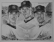 Baseball Art Drawings - Yankees by Paul Autodore