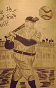Babe Ruth Drawings Posters - Yankees Poster by Paul Rapa