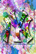 Yankees Digital Art Prints - Yankees Splatter Art by GBS Print by Anibal Diaz