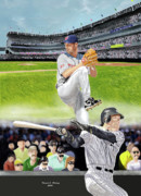 Baseball Stadiums Digital Art Prints - Yankees vs Indians Print by Thomas J Herring