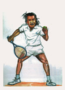 Tennis Player Drawings Prints - Yannick Noah Print by Emmanuel Baliyanga