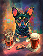 Pets Digital Art Framed Prints - Yappy Hour Framed Print by Sean ODaniels