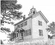 Historical Buildings Drawings Prints - Yaquina Bay Lighthouse Print by Lawrence Tripoli