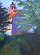 Quin Sweetman Paintings - Yaquina Bay Lighthouse  by Quin Sweetman