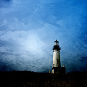 Stormy Night Prints - Yaquina Head Lighthouse Print by Carol Leigh