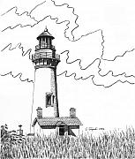 Oregon Drawings - Yaquina Head Lighthouse by Lawrence Tripoli