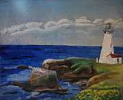 Lincoln City Mixed Media Prints - Yaquina Head Lighthouse Print by Rachel Biddlecome