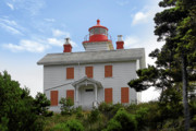Lightstation Metal Prints - Yaquina Lighthouses - Yaquina Bay Lighthouse Oregon Metal Print by Christine Till