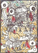 Art Brut Drawings - Yard Birds by Robert Wolverton Jr
