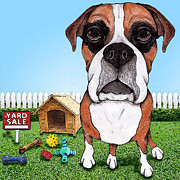 Boxer Dog Digital Art Metal Prints - Yard Sale Metal Print by Stephanie Gerace