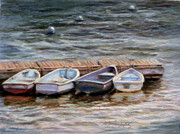 Docked Boats Originals - Yarmouth Dorys by Denise Horne-Kaplan