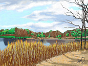 Cape Cod Paintings - Yarmouth Grist Mill Pond by Douglas Auld