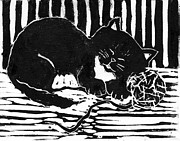 Pictures Of Cats Mixed Media Prints - Yarn Cat  block print Print by Ellen Miffitt