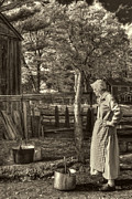 Old Wooden Fence Prints - Yarn Dyeing Print by Joann Vitali