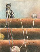 Feline Pastels - Yarn...What Yarn  by Arline Wagner