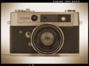 Sepia Tone Framed Prints - Yashica Lynx 5000E 35mm Camera Framed Print by Mike McGlothlen