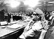 Head Wrap Framed Prints - Yasser Arafat Attends The Opening Framed Print by Everett