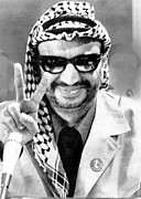 Head Wrap Framed Prints - Yasser Arafat Flashes Victory Sign Framed Print by Everett