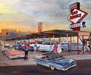Rock And Roll Paintings - Yaws Top Notch Drive In by Mike Hill