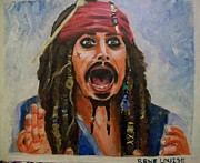 Captain Jack Sparrow Paintings - Ye be Captain Jack to you by Rene Waddell