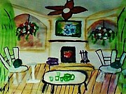 Hanging Baskets Paintings - Year around patio porch by Anna Lewis