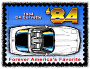 Year-by-year C4 1984-1996 Corvettes - Year-By-Year 1984 Corvette Postage Stamp by K Scott Teeters