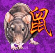 Zodiac Drawings - Year of the Rat by Sheryl Unwin