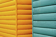 Beach Hut Posters - Yellow & Blue Beach Huts Abstract Poster by Kevin Button