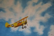 Biplane Paintings - Yellow Airplane by Jindra Noewi
